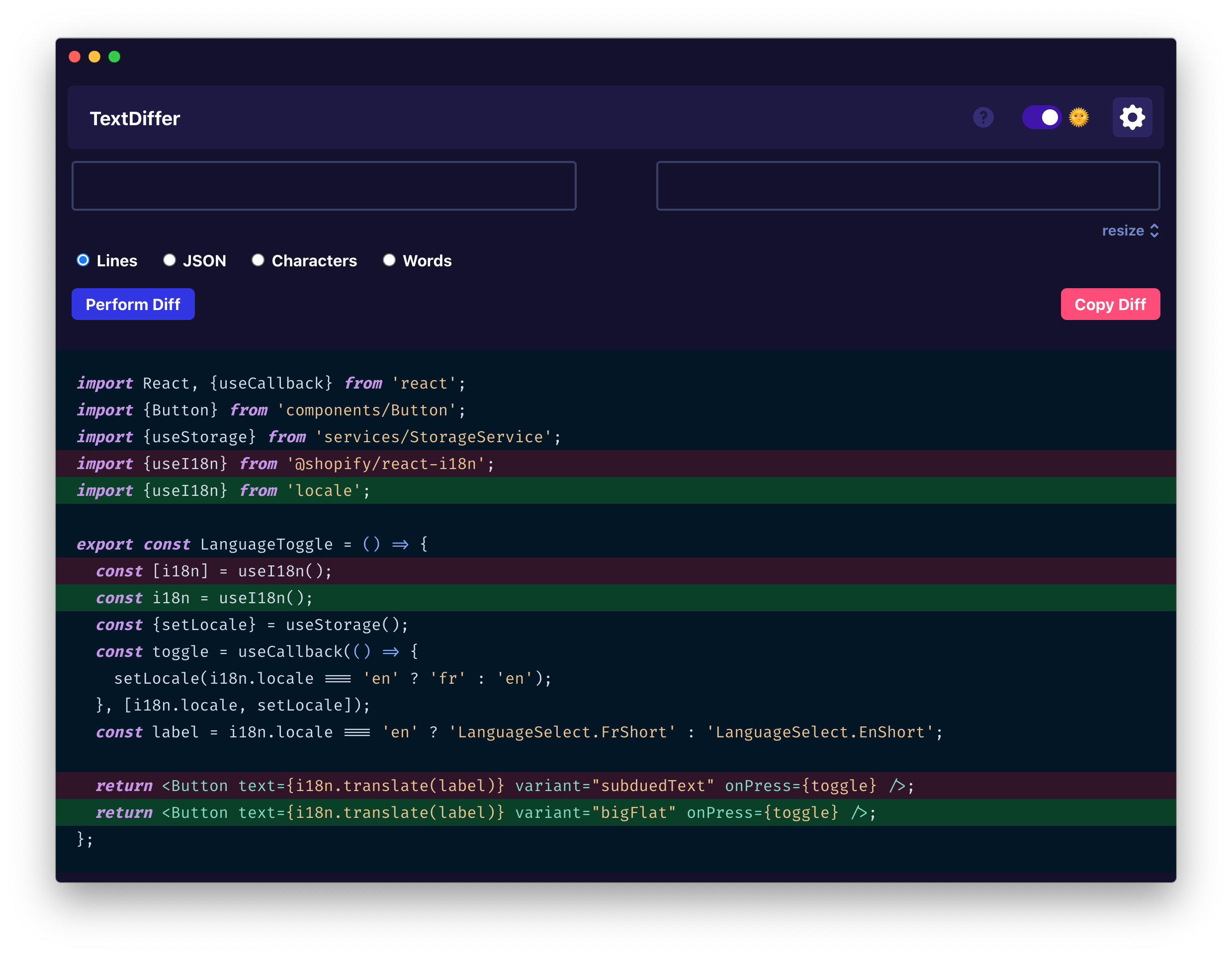 Screenshot of TextDiffer showing a dark theme and TypeScript code