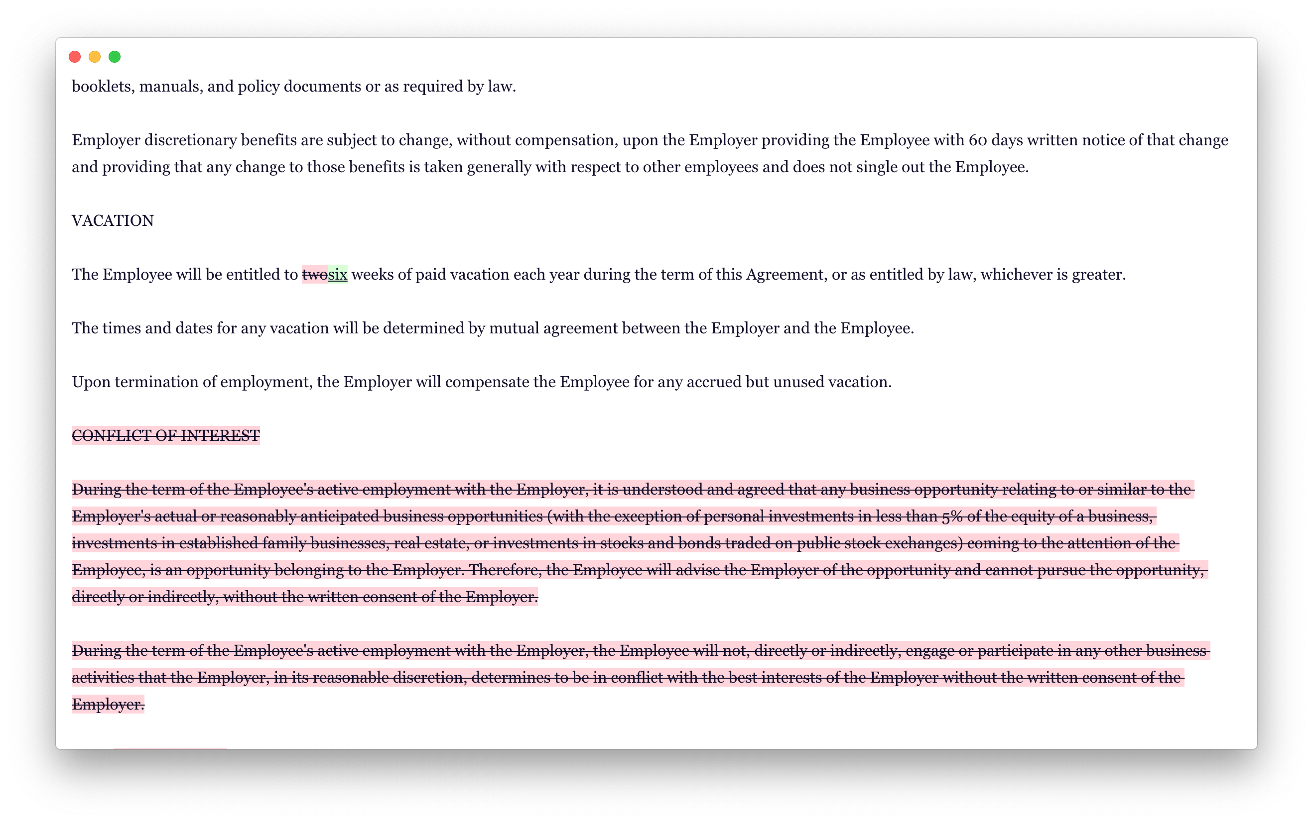 TextDiffer with a light theme showing a diff of a legal contract